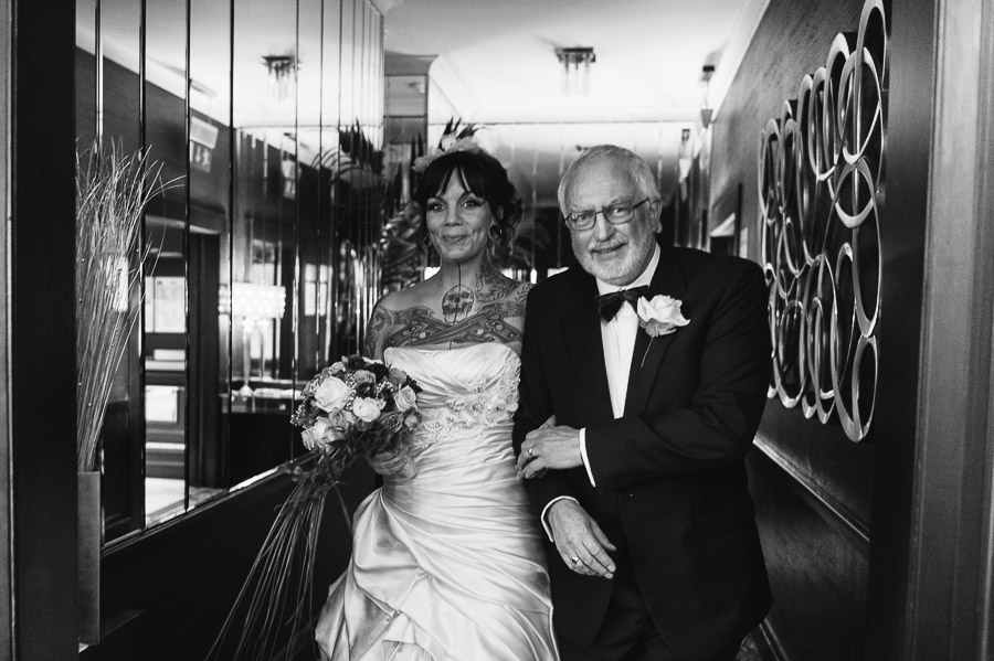 Cumberland Hotel Wedding Photographer proud father with bride
