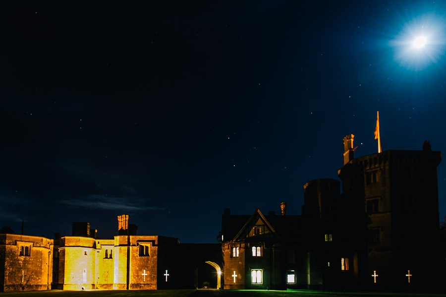 Thornbury Castle Gloucestershire Wedding Photographer Outside Image of Castle at Night