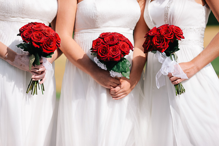 Canford School Dorset Wedding Photographer bridesmaids with flowers