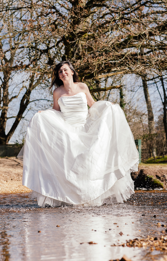 Trash the Dress Dorset wedding Photography bride in river