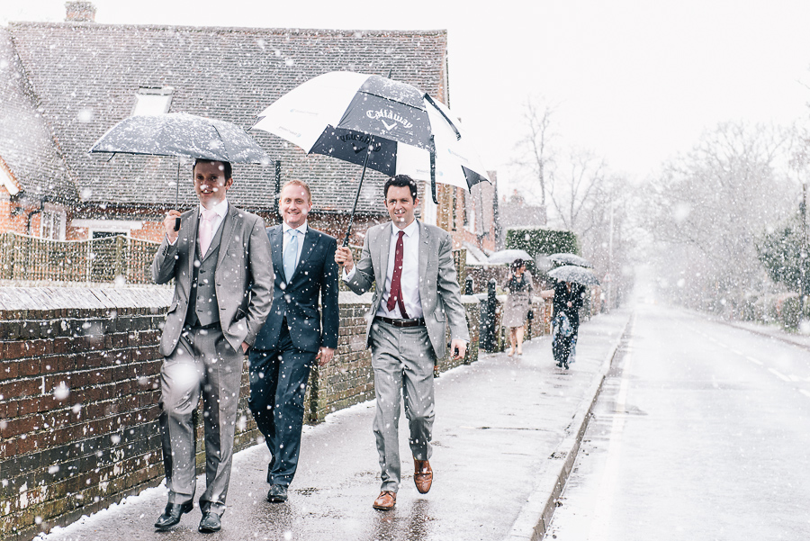 Newbury Manor Hotel Wedding Photographer snowy arrival