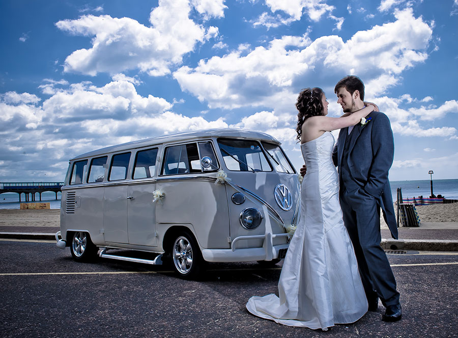 bournemouth beach wedding photography stood by volkswagen
