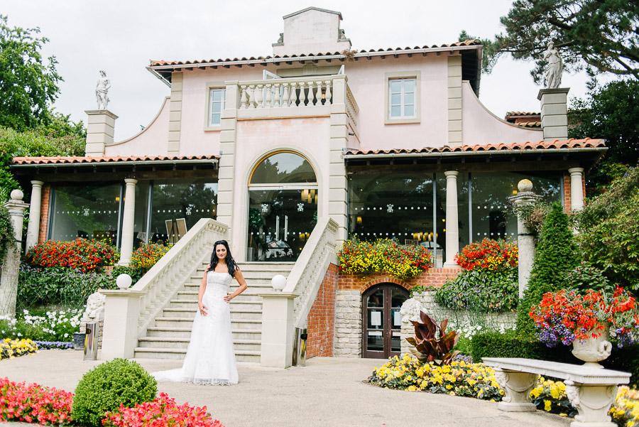 italian villa at compton acres bridal wedding photography dark haired bride central