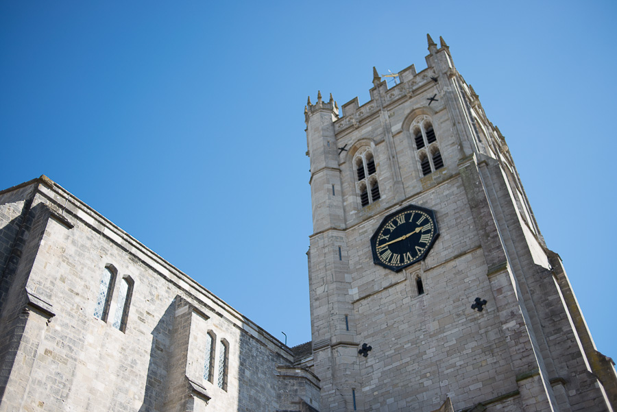 christchurch priory wedding photographer outside view