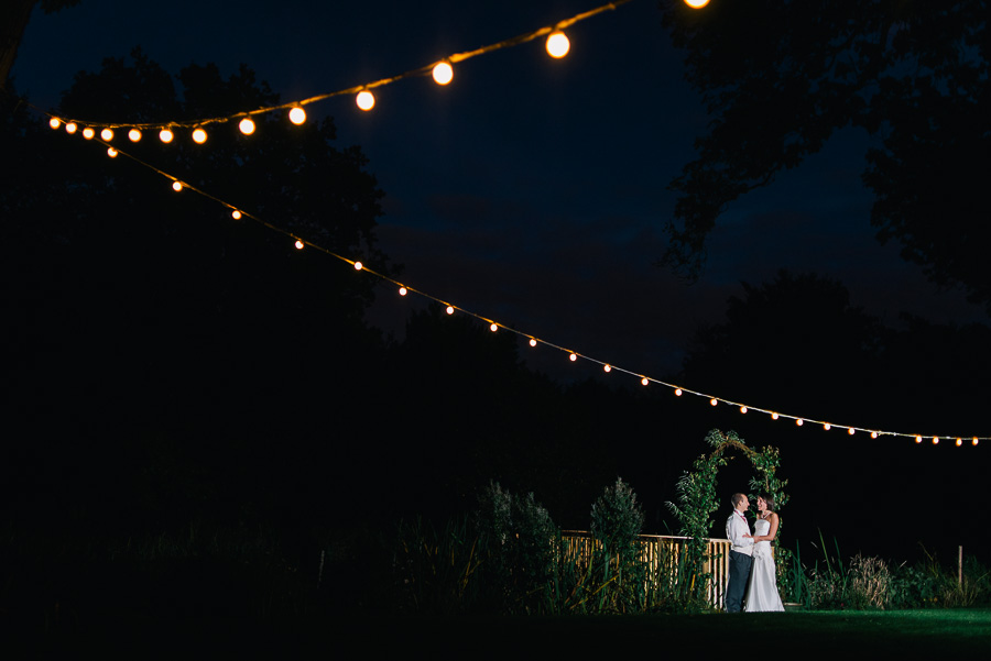 deans court wedding at night with bride and groom