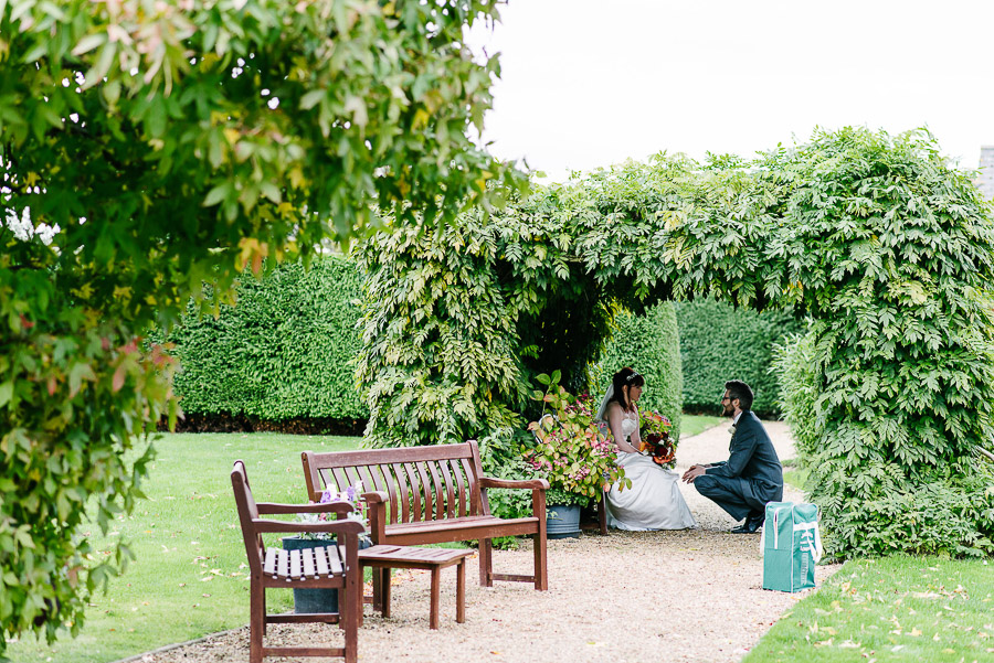 lovely moment at autumnal wedding at orangery wimborne