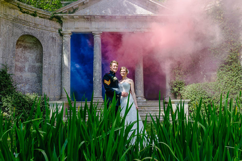 Kingston-Maurward-College-Wedding-Photographer-Bride-Groom-Smoke-Grenade