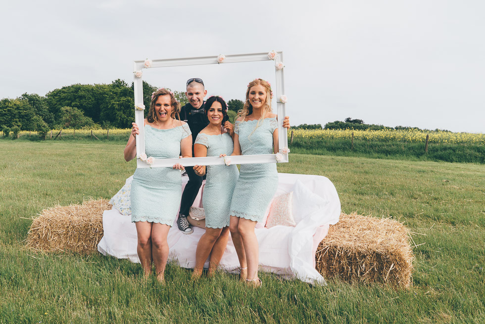 portrait in a field with bridesmaids (three of them) and me :)