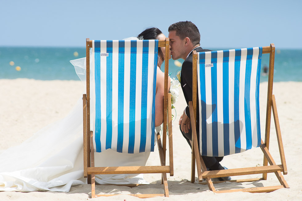 bournemouth beach wedding bride and groom in deckchair