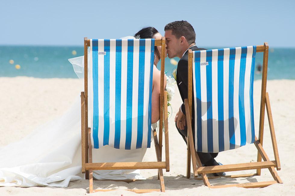 bournemouth beach wedding bride and groom in deckchair