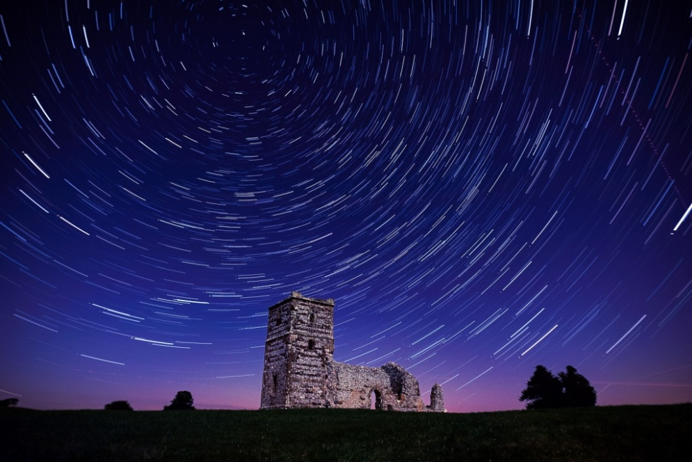 Knowlton Church and Sigma 20mm f/1.4 together for star trails