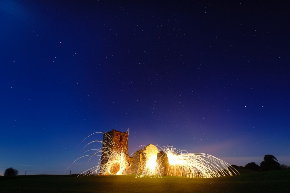 Knowlton Church and Sigma 20mm f/1.4 together with wire wool spinning