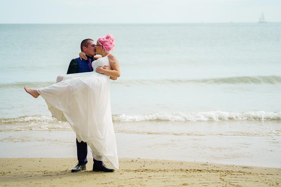 ami and hugh on beach bournemouth wedding photography