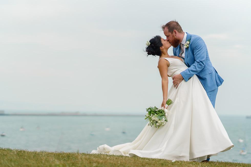 wonderful weymouth wedding kiss